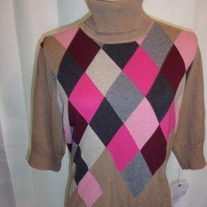 Nwt Liz Claiborne XL Camel  Argyle T-Neck Sweater